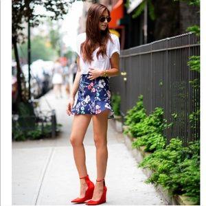 Zara Woman Blue Floral Fluted Ruffle Hem Skirt